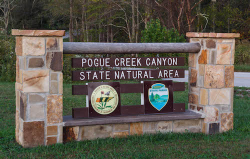 Pogue Creek Canyon sign